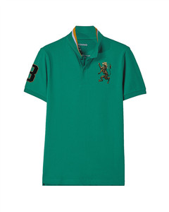 3D Lion Multi-Color Embroidery Polo  M - Green