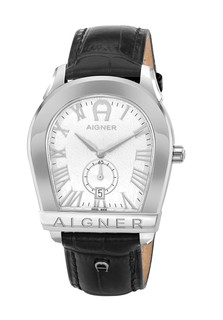 Aigner Viterbo Gents Black Leather Strap Silver Dial Watch-A101009