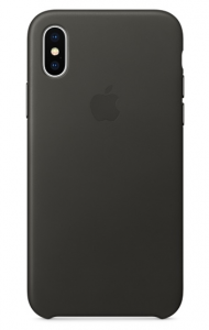 APPLE iPhone X Leather Case CHARCOAL GRAY MQTF2