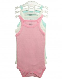 Baby Girl'S  Body Suit Pack Of 3 Jaquard  0-3mths