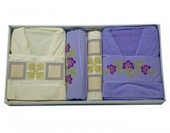 Bath Set (6 Pcs) -Rinda- Purple/Krem 2