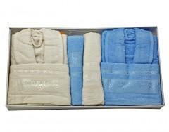 Bath Set (6 Pcs) -Zumrut- Blue/Krem
