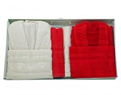 Bath Set (6 Pcs) -Zumrut-Red/Kreme
