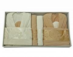 Bathrobe Set -Mislina (Family Bath Set)- Brown/White