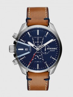 Diesel Mens Chrono Blue Dial Leather Chronograph Watch