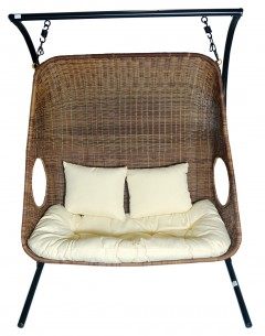 Double Garden Swing -Y9048, Rattan(Without Canopy), Base Steel With Cushion And Pillow