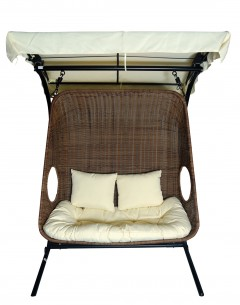 Double Garden Swing -Y9048W, (With Canopy),Base Steel With Cushion And Pillow
