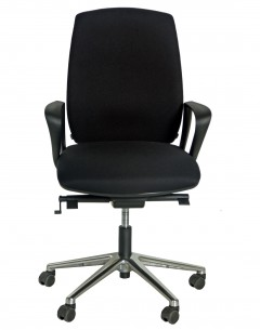 Fahmy High Back Chair Without Headrest-Black Fabric Seat And Back-Synchronizing Mechanism -Aluminium Base