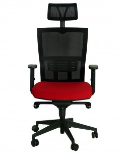 Fahmy High Back With Headrest-Mesh Back Black With Back Support-Fabric Seat Red Alu Base