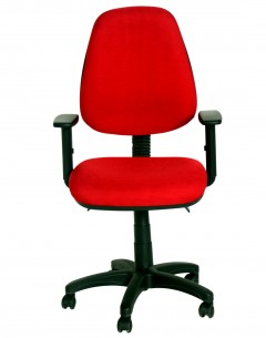 Fahmy Medium Back Chair - Fabric Back And Seat Black Fame -Adj Arm