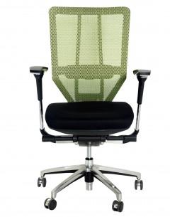 Fahmy Medium Back-Mesh Green Back-Black Fabric Seat-Adj Armrest-Aluminium Base