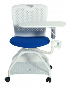 Fahmy Study Chair With Movable Tablet-Whit Frame-Blue Seat Fab