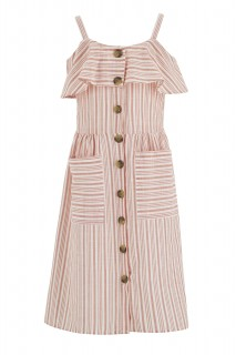 Girl Woven Dress CORAL 5-6