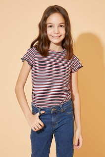 Girl's Striped Short Sleeve Body T-shirt 8698335567231 5-6yrs