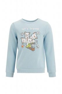 Girl's Sweat Shirt BLUE 3/4