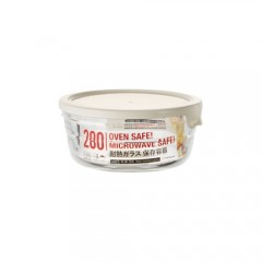 Glass Easy Seal Round -280Ml White