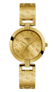 Guess G Luxe Womens Analog Quartz Watch With Stainless Steel Gold Plated Bracelet W1228L2