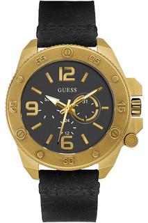 Guess Men's Quartz Watch with Black Dial Analogue Display Quartz Leather W0659G2