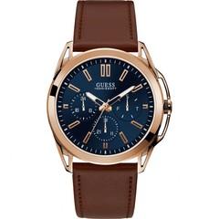 GUESS Vertex Quartz Blue Dial Brown Leather Men's Watch W1217G2