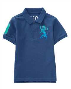 Junior 3D Lion Multi-color embroidery polo    8-9yrs