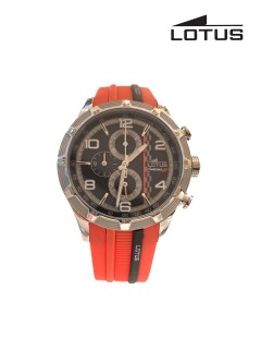 Lotus Watch/Gents/Chrono/Blk Dial/Ss Case/Blk & Red Silicon