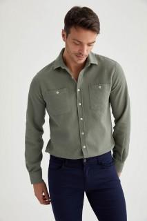Man Long Sleeve Shirt Khaki- XS