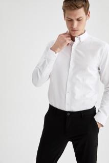 Man Long Sleeve Shirt WHITE-XS