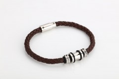 Police Brown Leather Bracelet For Men