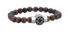 Police Mens Stainless Steel Beads P-Circle Adjustable Bracelet
