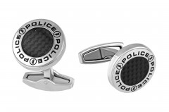 Police Mens Stainless Steel Cufflinks