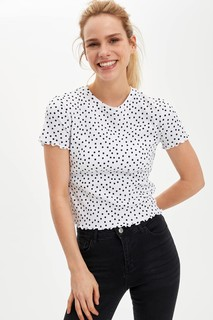 Polka Dot Patterned Short Sleeve T-Shirt 8682446000619  XXsmall