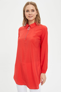 Shirt Collar Zipper Tunic 8682283550964  XL