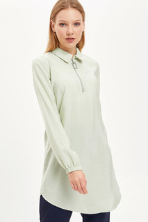 Shirt Collar Zipper Tunic 8682283551022  XL