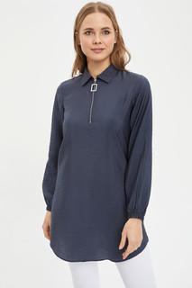 Shirt Collar Zipper Tunic 8682283551084  XL