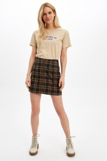 Square Pattern Detailed Zippered Short Woven Skirt 8682446398976  36
