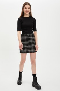Square Pattern Detailed Zippered Short Woven Skirt 8682446399027  34