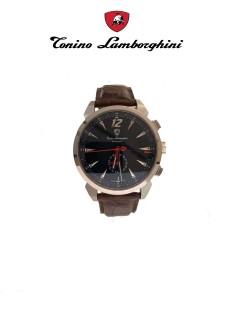 Tonino Lamborghini Watch/Gents/Automatic/Black Dialss Case/Brown Leather Strap