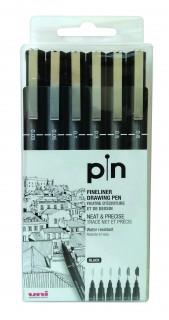 Uni Pin Fine Liner PAC:06ea BK GY