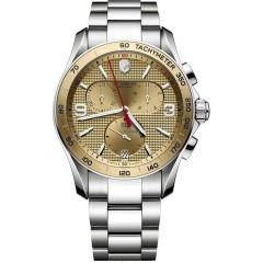 Victorinox Chrono Classic Champagne Dial Steel Bracelet Mens Watch