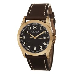 Victorinox Infantry Brown Dial Brown Leather Strap Mens Watch