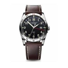 Victorinox Infantry Gmt Black Dial Brown Leather Strap Mens Watch