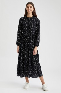 Woman BLACK-100-08 Long Sleeve Woven Dress-36