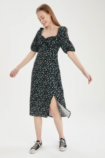 Woman BLACK Long Sleeve Woven Dress-34