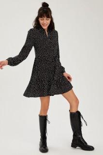 Woman BLACK Long Sleeve Woven Dress-40