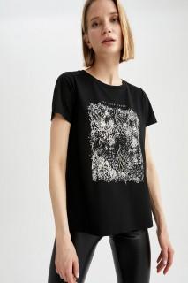Woman BLACK Short Sleeve T-Shirt-XXL