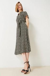 Woman BLACK Short Sleeve Woven Dress-34