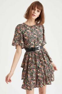 Woman BLACK Short Sleeve Woven Dress-40