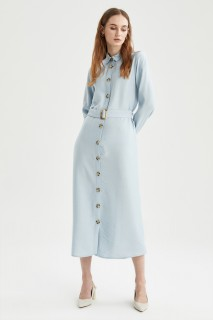 Woman BLUE Long Sleeve Woven Dress-46