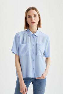 Woman BLUE Short Sleeve Shirt-S