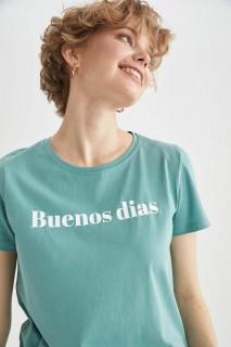 Woman BLUE Short Sleeve T-Shirt-L
